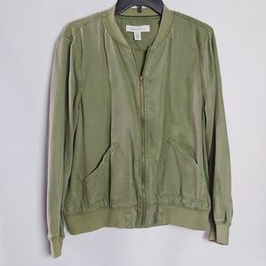 Kenneth Cole Reaction Army Green Bomber Jacket L